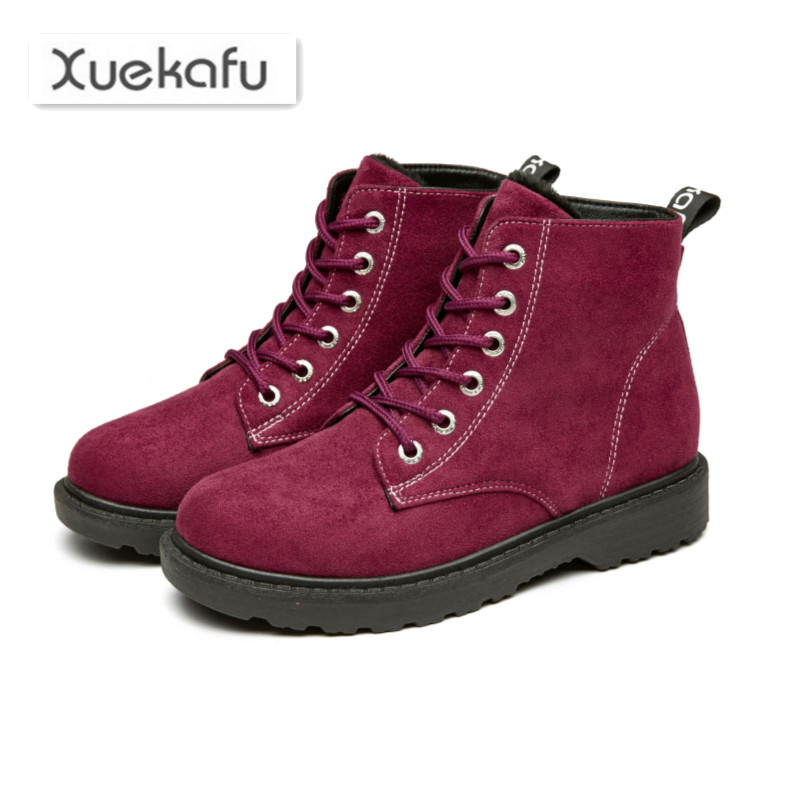 Xuekafu 2017 new winter snow boots for women warm shoes woman plush ankle boots ladies casual comfortable flat solid flock shoes