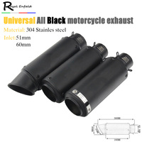 51mm And 61mm Inlet Universal Modified SC Motorcycle Exhaust Muffler All Black Motorcycle Exhaust Gsxr 750