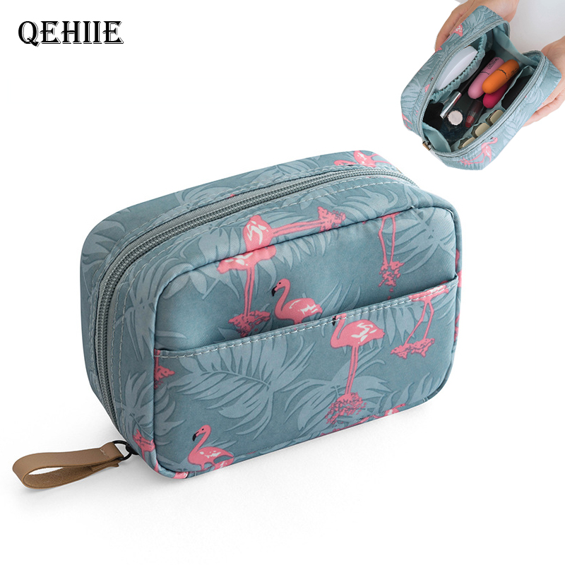 Purse Makeup-Bag Cosmetic-Case Lipstick Essential-Organizer Flamingo Travel Woman New