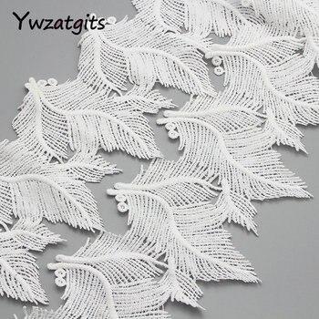 ywzatgits 1y/lot 12cm White Embroidery Flower Leaf Lace Trim Ribbons DIY Fabric Garment Wedding Sewing Accessories YN0512