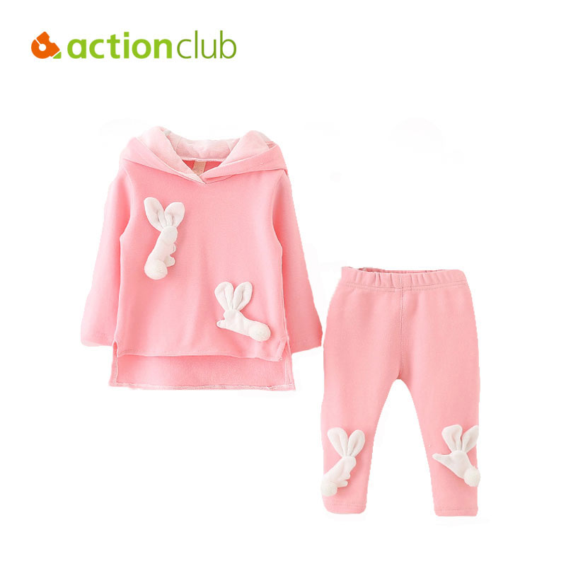 Actionclub Baby Boys Girls Clothing Sets Autumn Spring Casual Cotton Children Shirt Pants Rabbit Pattern Cute Clothes For Kids malayu baby kids clothing sets baby boys girls cartoon elephant cotton set autumn children clothes child t shirt pants suit