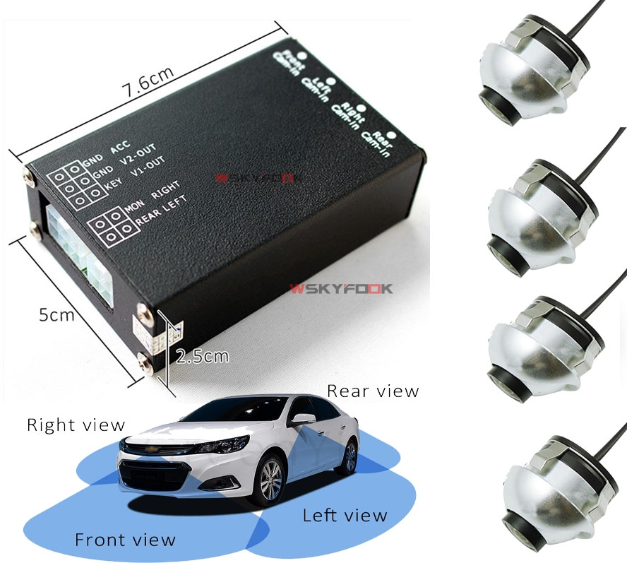 4PCS 360 View Car Camera Control Box 4 Way Cameras Switch System For Rear Left Right Side Front Camera