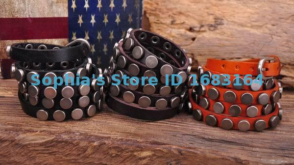 S317 Lot 3pc Rock R&B Round Studs Multi 5-Wrap Leather Wristband Bracelet Bangle Mens