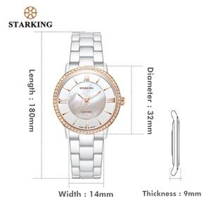Image 5 - STARKING מותג יוקרה נשים שעונים לבן קרמיקה יהלומי גבירותיי שעון מתנה ספיר קוורץ שעוני יד Relogios Femininos שעון