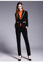 Women Business Suits Formal Office pants Suits Work wear 2 Piece Set Custom made Black One Button Suit