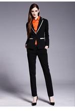 Women Business Suits Formal Office pants Suits Work wear 2 Piece Set Custom made Black One Button Suit