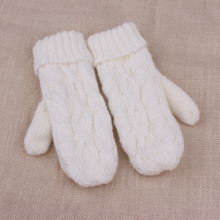 Fashion Women Thick Wool Warm Ladies Winter Knitted Twist Gloves Mittens Women's Accessories