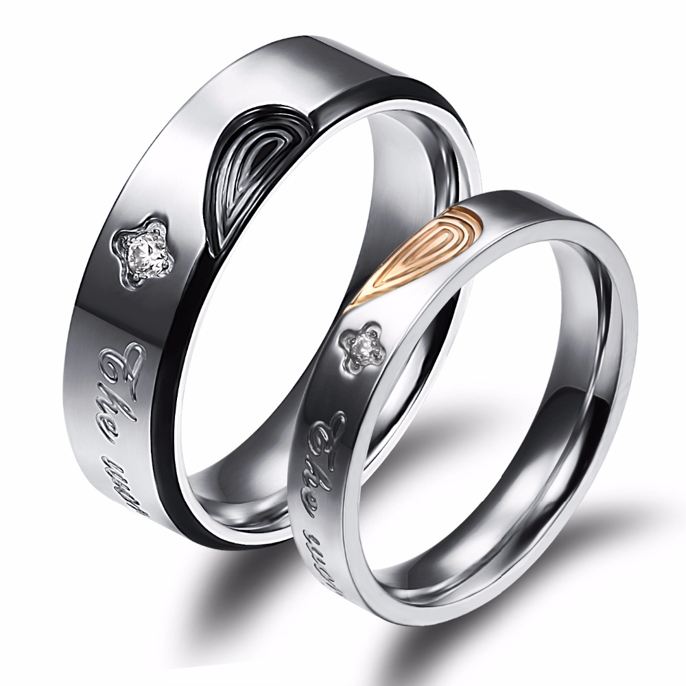 His And Hers Promising Rings Set Stainless Steel Engagement Ring Wedding  Band Fashion Couple Jewelry Wholesale