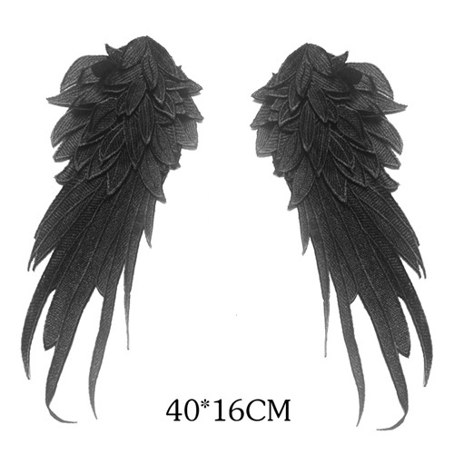 1pair black white embroidered angel wings lace fabric shoulder venise lace sewing applique diy halloween costume decorationrs794 - Halloween Costumes Angel Wings