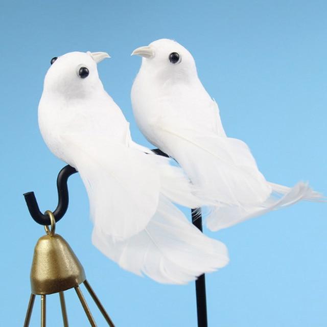 2pcs/set Artificial Foam Feather Lifelike Beads Simulation Bird DIY Party Crafts Ornament Props Home Garden Wedding Decoration 3
