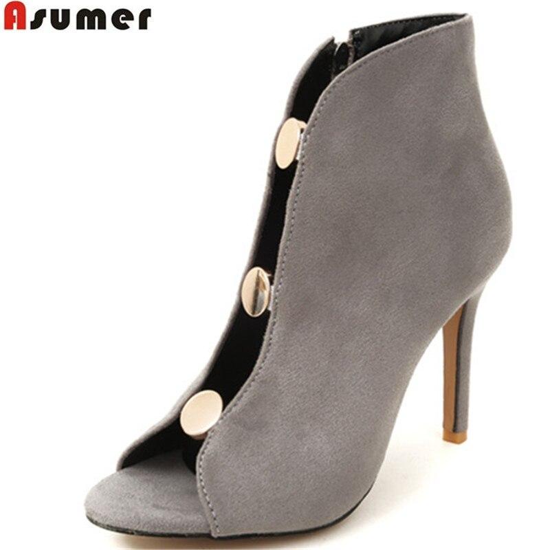 ASUMER black gray fashion spring autumn shoes woman peep toe zip flock thin heel super high
