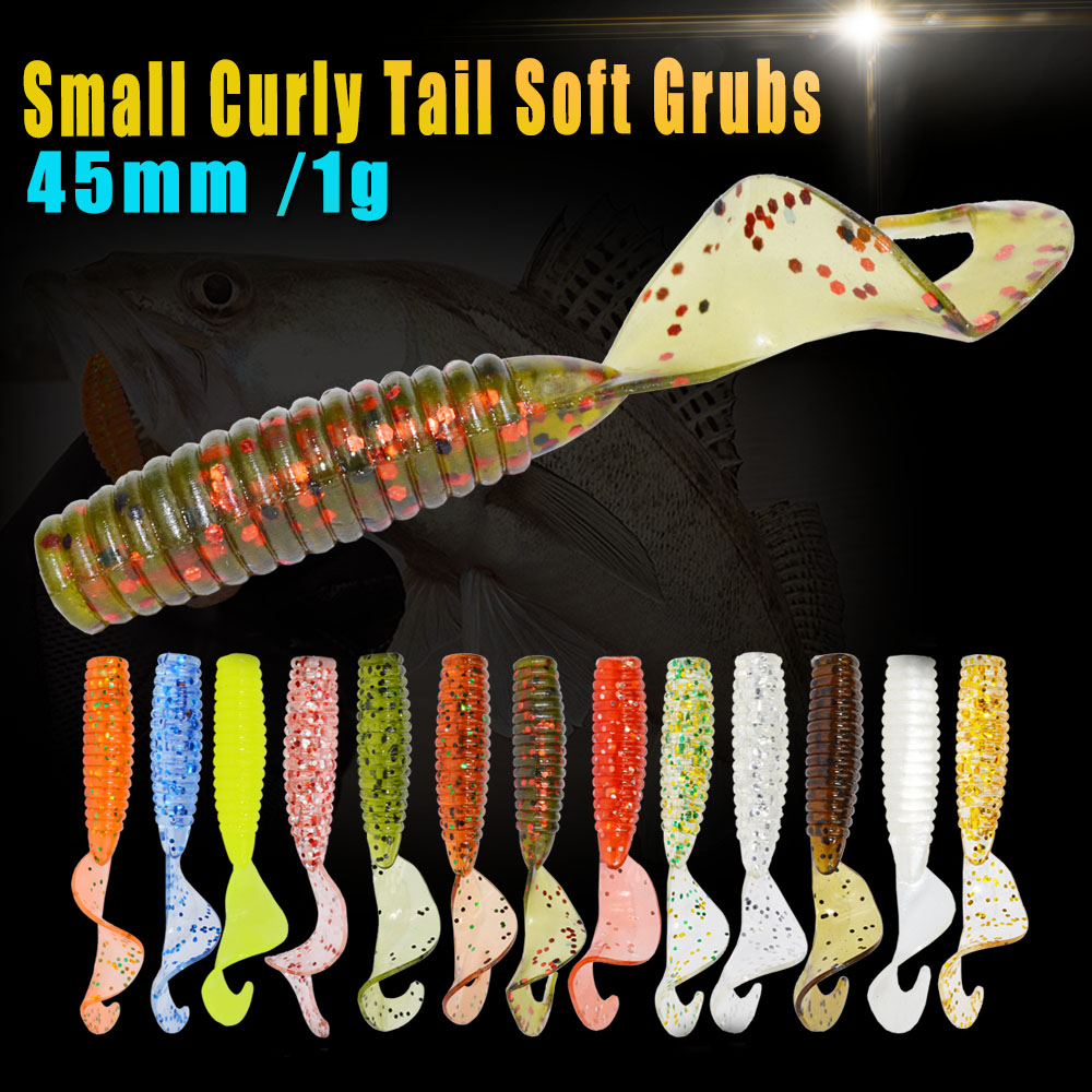 24 unids/lote afishlure 45mm 1.2g curly tail grub artificiales panfish mojarra b