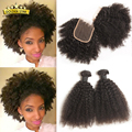 7A Brazilian Kinky Curly 3 Bundles With Closure 4x4inch Lace Closure Brazilian Afro Kinky Curly Human Hair Weave With Closure
