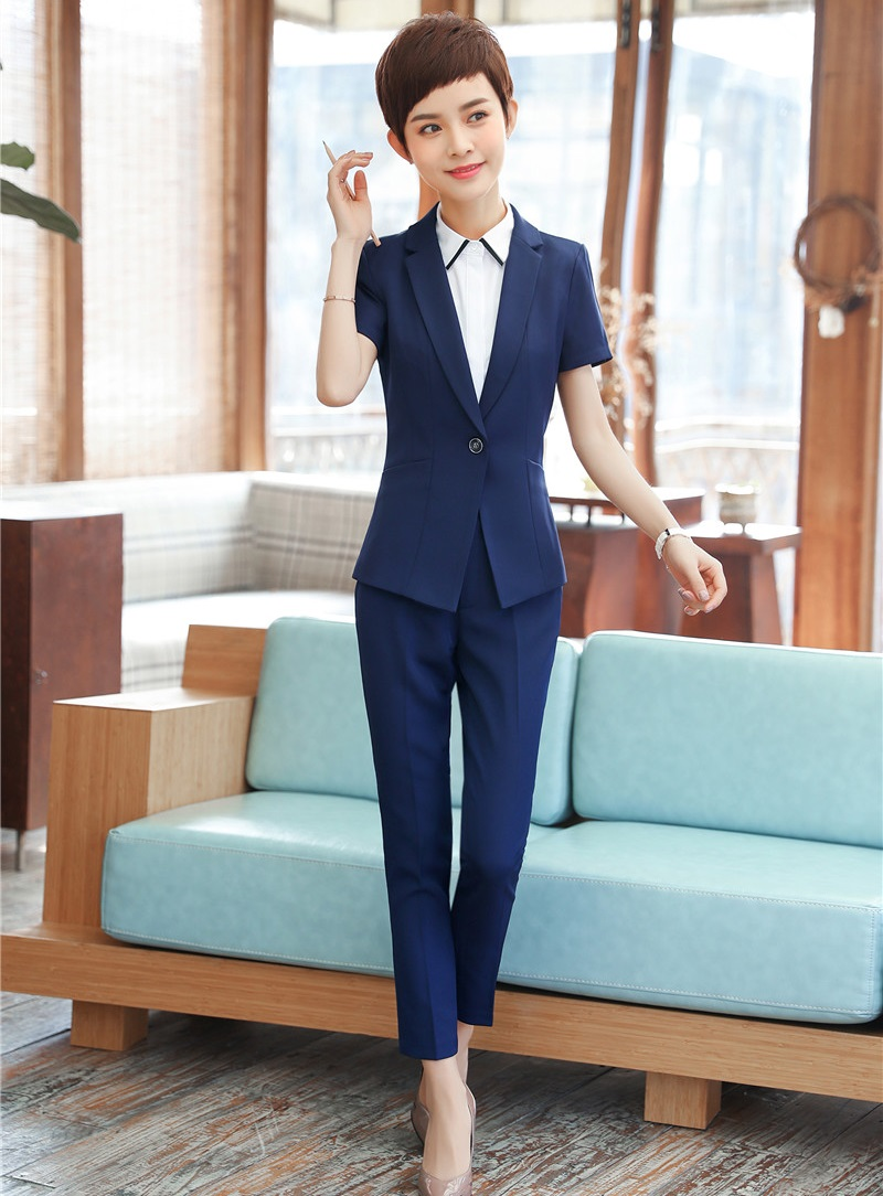 New Style Formal Blue Blazer Women Business Suits With Pant And Jacket Set Ladies Work Wear Office Uniform Designs Pantsuits Delicacies Loved By All Suits & Sets