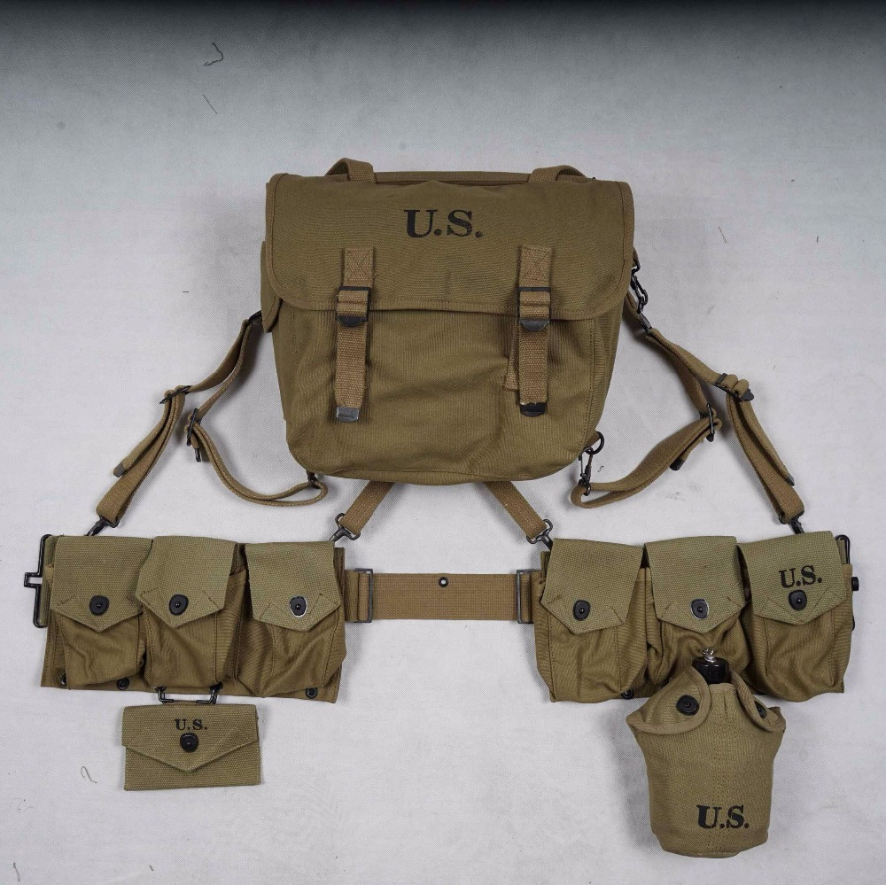 Type Straps Six Cell Pouch Camping & Hiking Ww2 Us Army Equipment M36 Bag Belt First Aid Kit And 0.8l Kettle X