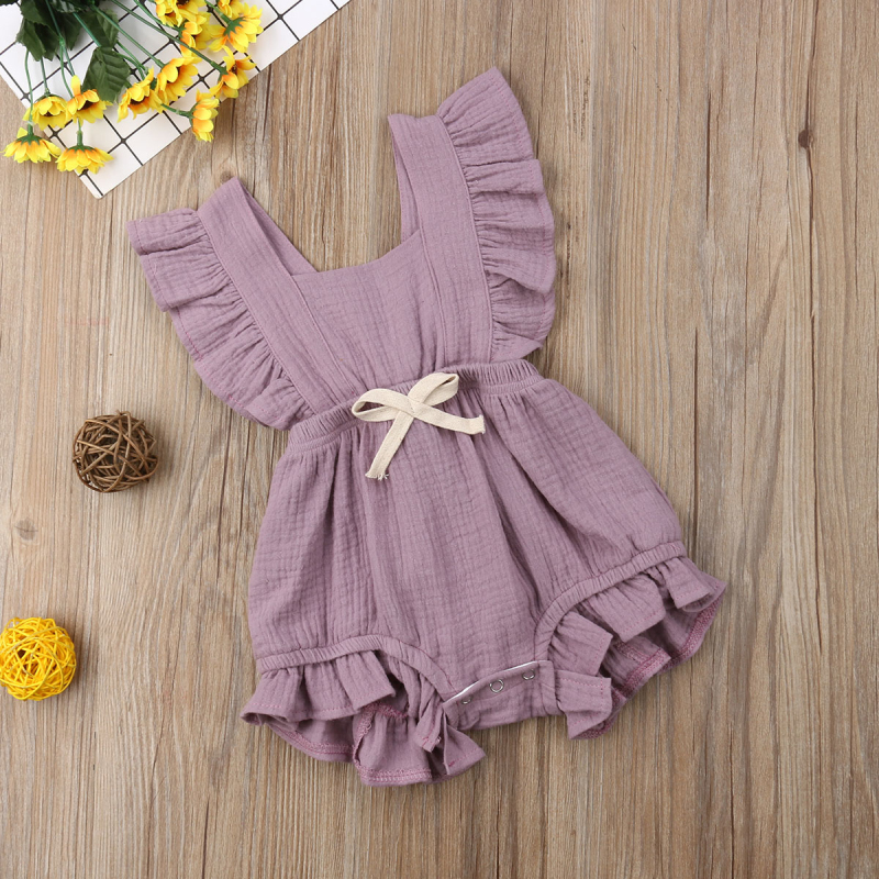 HTB1Oh1XatjvK1RjSspiq6AEqXXaH 6 Color Cute Baby Girl Ruffle Solid Color Romper  Jumpsuit Outfits Sunsuit for Newborn Infant Children Clothes Kid Clothing