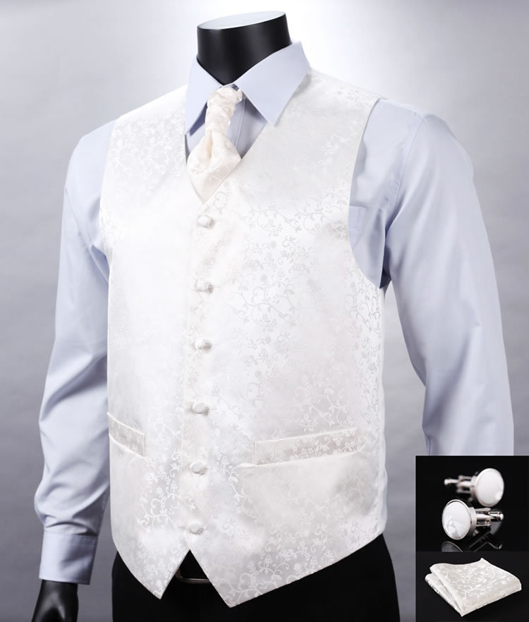 Wedding Waistcoats - White Waistcoats Our range of White Waistcoats are perfect for weddings, formal evening wear or simply to add a touch of style to an occasion. Most of the waistcoats and neckwear that we sell are individually made to order.