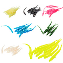 10Pcs/Pack 7cm 1g Mudfish Jelly Worm Soft Plastic Artificial Lure Isca Pesca Grub Lure 7 Colors Glow Optional Free Shipping