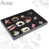 Free Shipping Black Velvet 12 Cortical Plate Necklace Display Tray Hand Plate Jewelry Box Jewelry Display