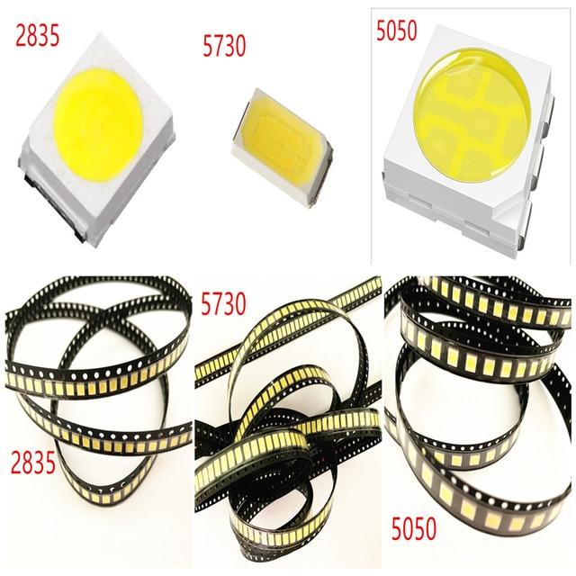 500pcs/lot 0.2W 2835 5050 LED Lamp Bead White/Warm White 0.5W 5730 SMD LED Beads LED Chip DC3.0-3.4V for All Kinds of LED Light