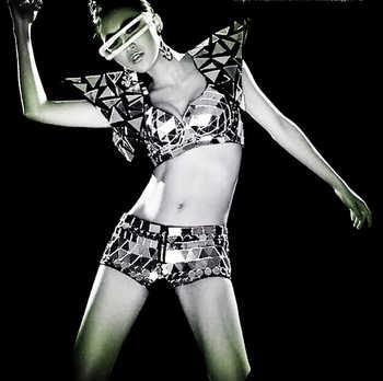 スパンコールボディスーツダンス女性のためのセクシーな手作り女性歌手レオタード衣装ワンピースシングルショルダー脚ミラー服