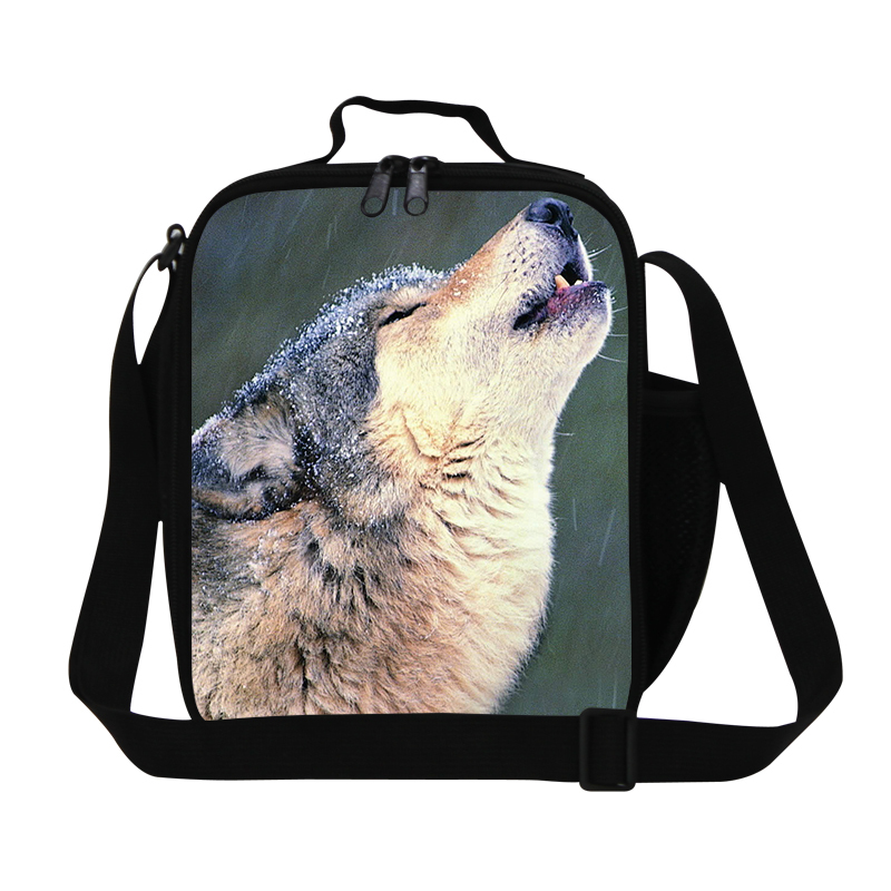 Personalized wolf lunch bags for boys,cool mens work insulated lunch bag,stylish lunch container for teens,thermal food bag kids