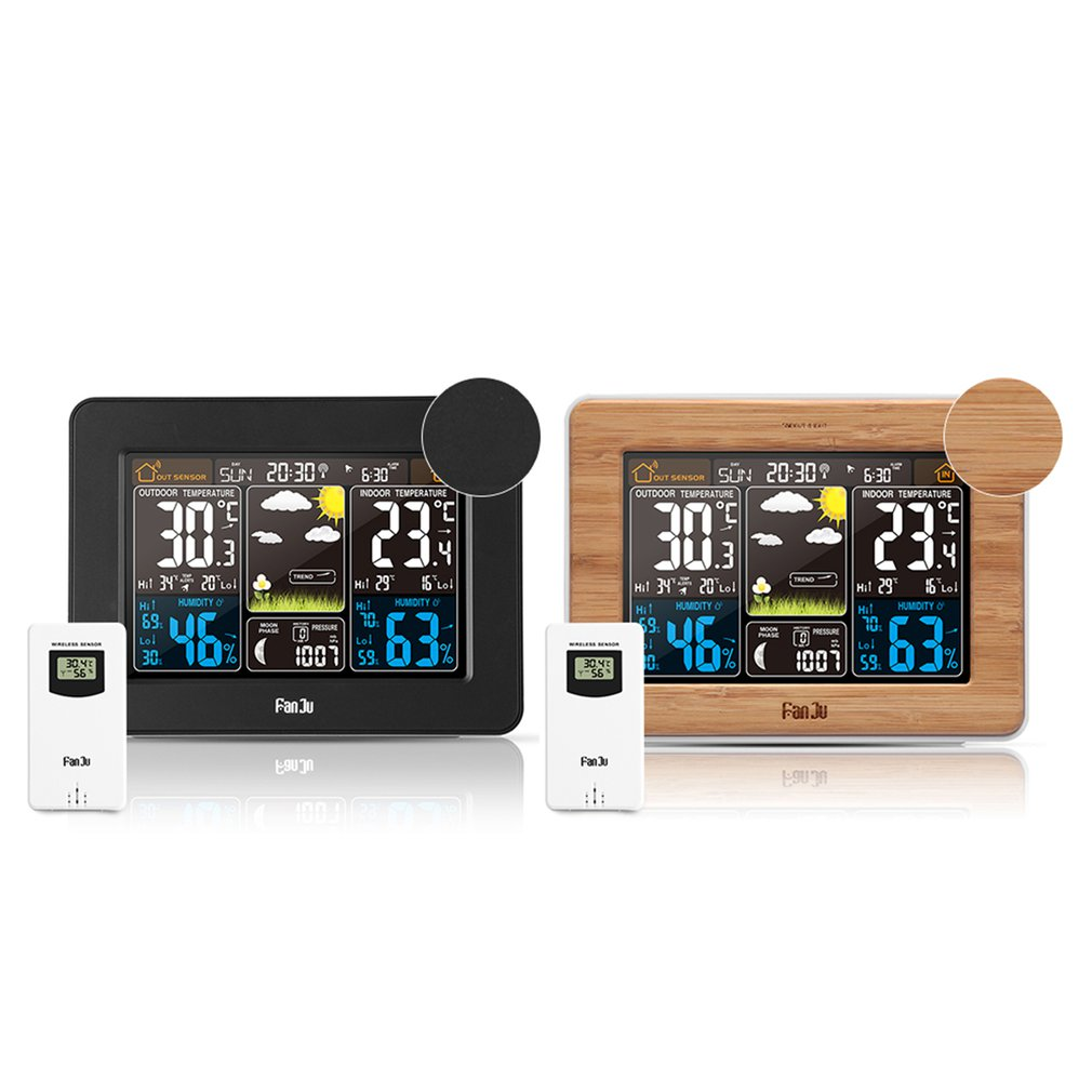 Color Screen Weather Forecast Clock station Bamboo Electric Wave Clock Multi Function Electronic Rf Wireless Calendar