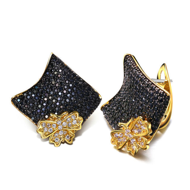 Gold Plated Black & White Women Butterfly Stud Earrings AAA Cubic Zircon Micro Pave Setting Lady Cocktail Party Jewelry