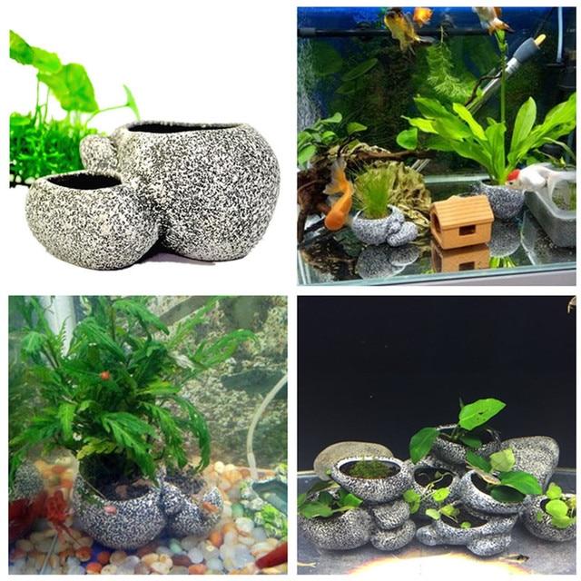 Aquarium Plant Bonsai Stone Pot Fish Tank Stone Cave Decoration For Fish Breeder Bonsai Shelter Filter