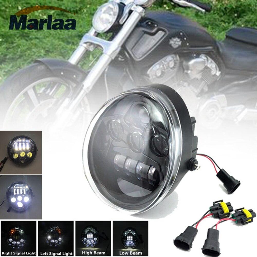 E9 DOT VRSC/V-ROD Black LED Headlight With High Low Beam Vrod headlight Oval for Harley V Rod VRSCF VRSC VRSCR Harley Headlamp
