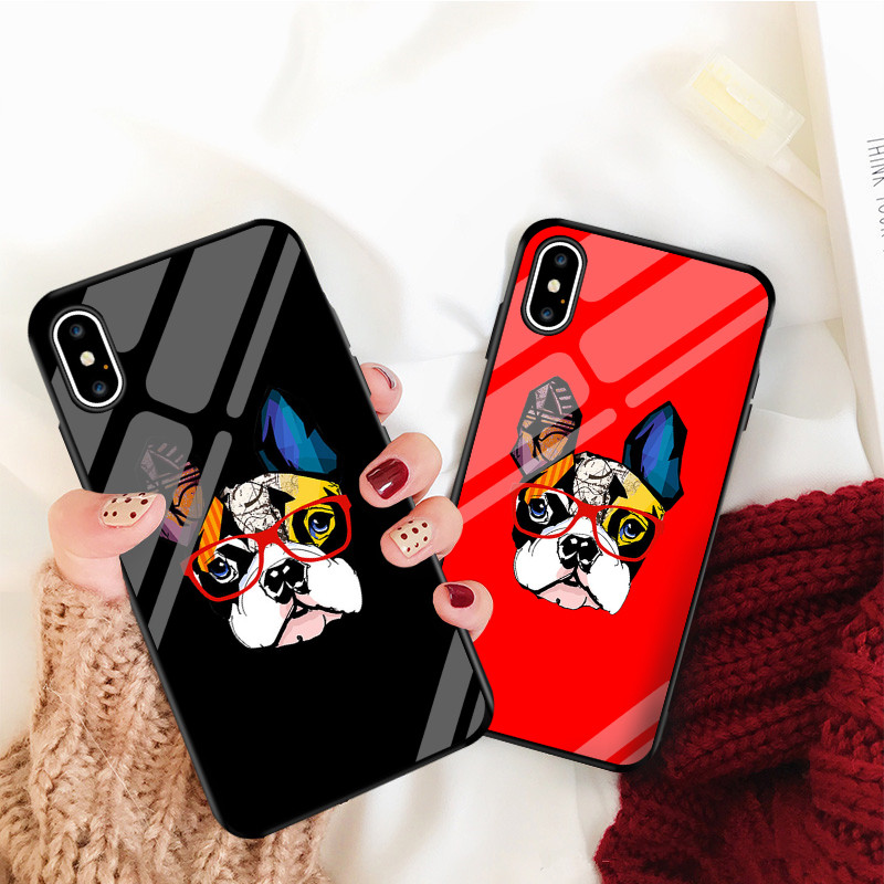 Cartoon French Bulldog Phone Case For iPhone Tempered Glass Back Cover iPhone Cases