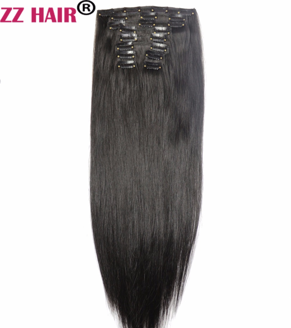 "ZZHAIR 140g-280g 16 ""-26"" Maskine lavet Remy Hair 10 stykke Set Clips-i Human Hair Extensions Fuld Head Set Natural Straight Hair"