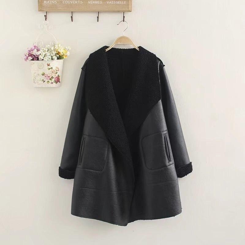 2019 Winter Women Faux   Leather   Jacket Black Lamb Cashmere PU   Leather   Jacket Large Size Thicken Cardigan Outerwear Plus Size W509