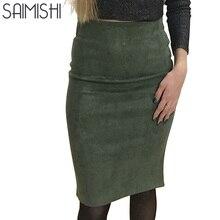 Super Deals Fashion font b Women b font Suede Solid Color Pencil font b Skirt b