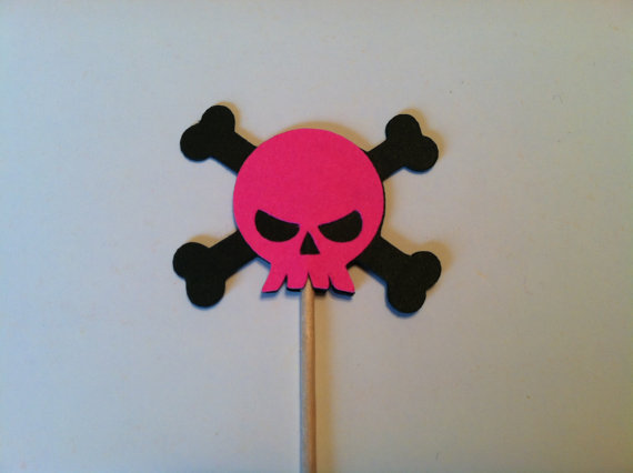 fushia skull and crossbone cupcake toppers birthday appetizer picks halloween party toothpicks decorations