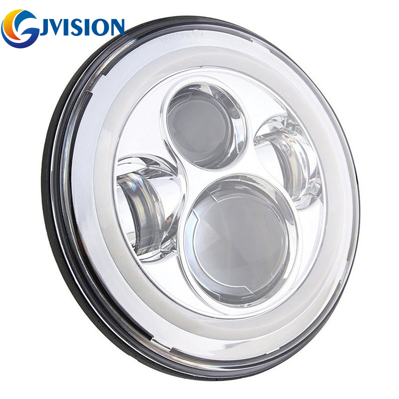 Motorcycle headlamp 7 INCH 40W LED Headlights Bulb with Halo Angel eyes Hi Lo Beam for Jeep Wrangler Projector Lens