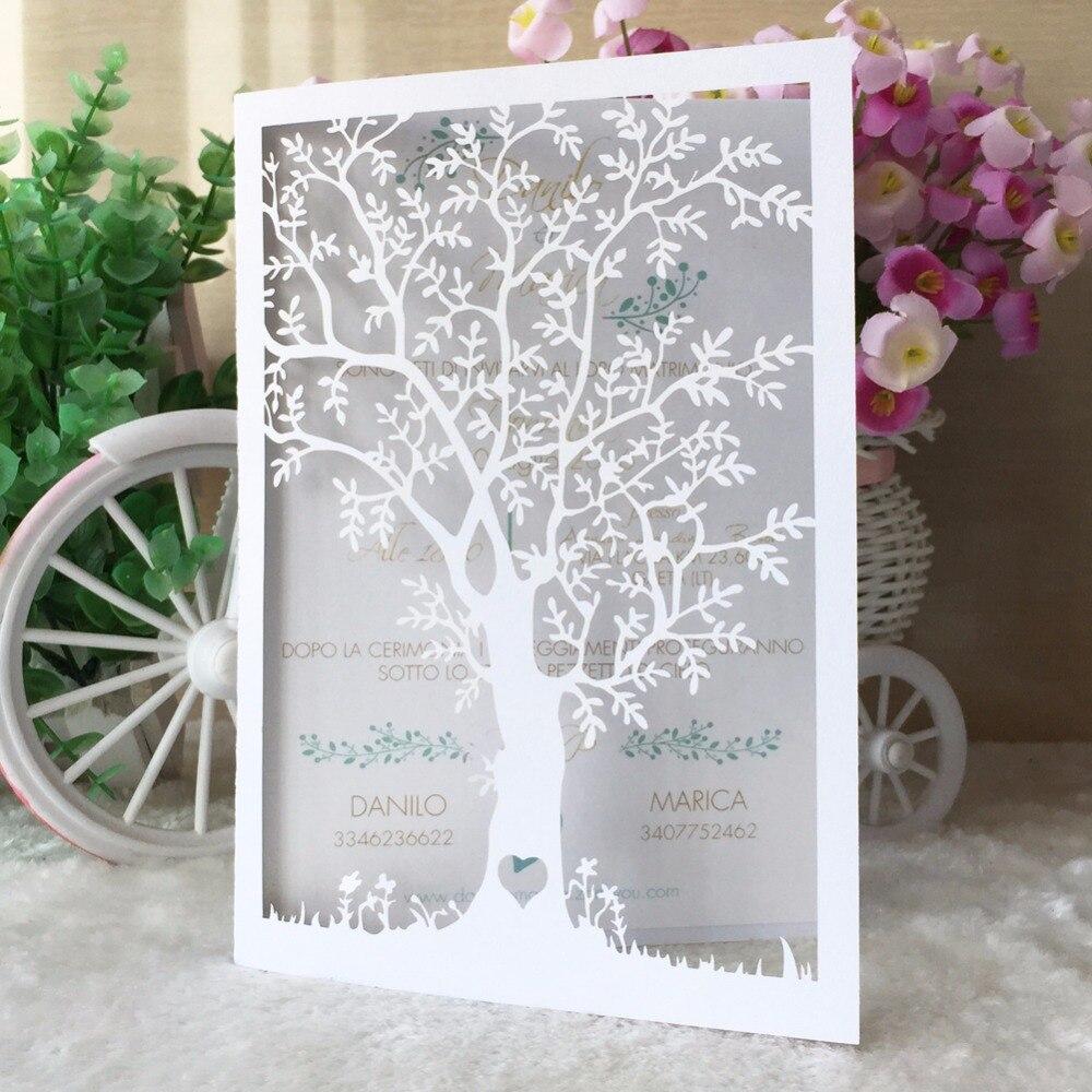 50pcs/lot life tree design for 90th birthday invitation decoration ...