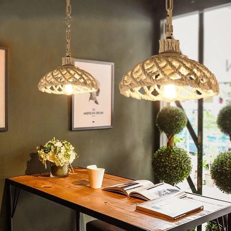 American Country Creative Retro Loft Art Wicker Pendant Light Bar Caffee Restaurant Livingroom Decoration Lamp Free Shipping