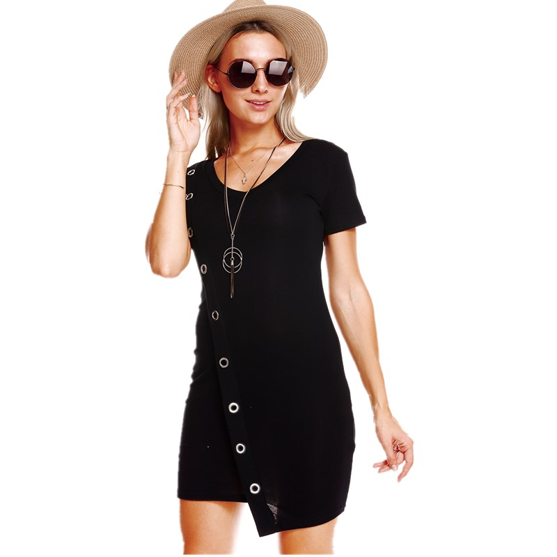 Hodisytian Spring Fashion Women Dress Casual Knitted Dress Fitness Short Sleeve O neck Solid Mini Dresses Vestidos Feminino