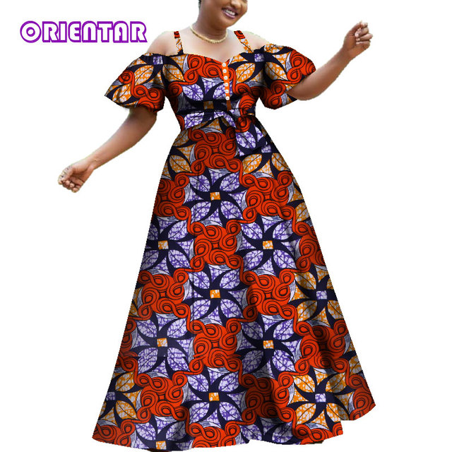 1981d7410 2019 Women African Dresses Fashion Off Shoulder Puff Sleeve Party Ball Gown  African Print Cotton Lady Long Dashiki Dress WY3609