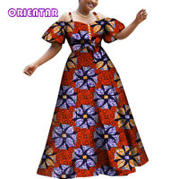 2019 Women African Dresses Fashion Off Shoulder Puff Sleeve Party Ball Gown African Print Cotton Lady Long Dashiki Dress WY3609