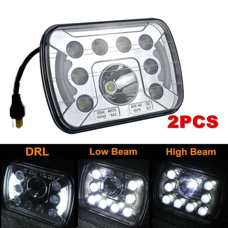 4PCS 7inch 7x6 LED HeadLight Sealed Beam Square Projector Headlight Clear Lens