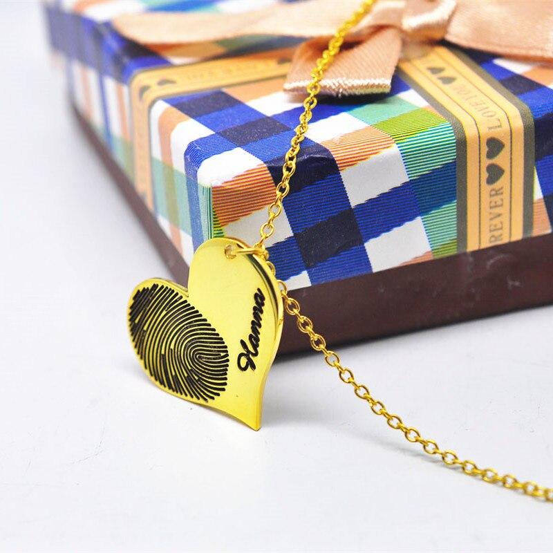 Collier personnalisé d'empreintes digitales or coeur charme gravé Signature écriture personnalisée bijoux mémoire cadeau