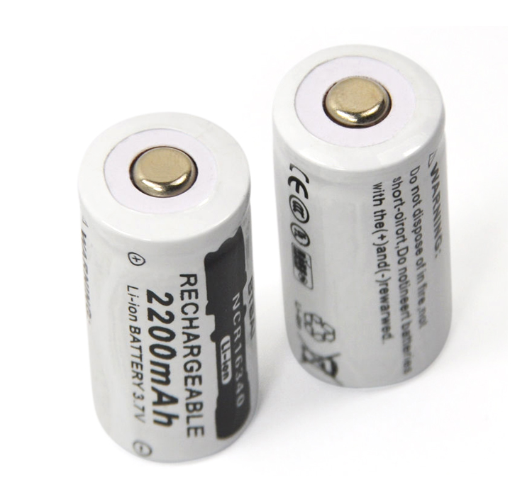 NEW 2pcs 3.7v 2200mAh CR123A Rechargeable Lithium Battery 16340 Battery