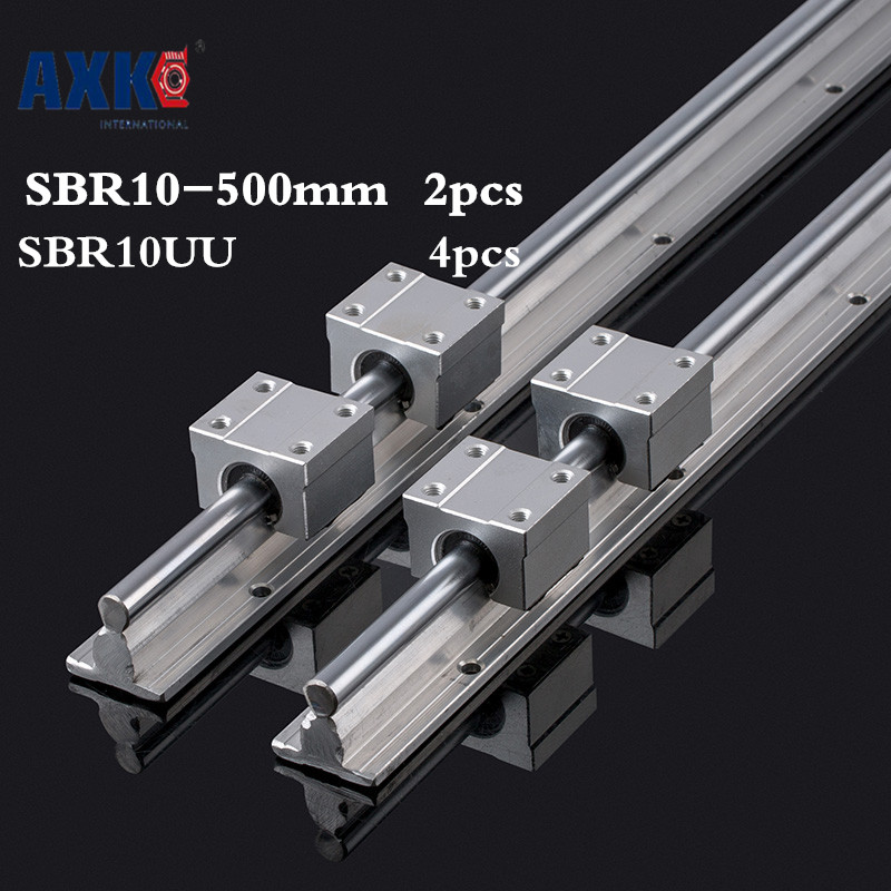 AXK Cnc Router Parts 2pcs Sbr10 L 500mm Linear Rail Support With 4pcs Sbr10uu Guide Auminum Bearing Sliding Block Cnc Parts 2pcs sbr16 l 500mm linear shaft rail support with 4pcs sbr16uu linear motion auminum bearing sliding block for router part