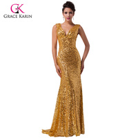 Free Shipping Grace Karin Shining New Design Women Sexy Long Gold Sequins Deep V Ball Gown