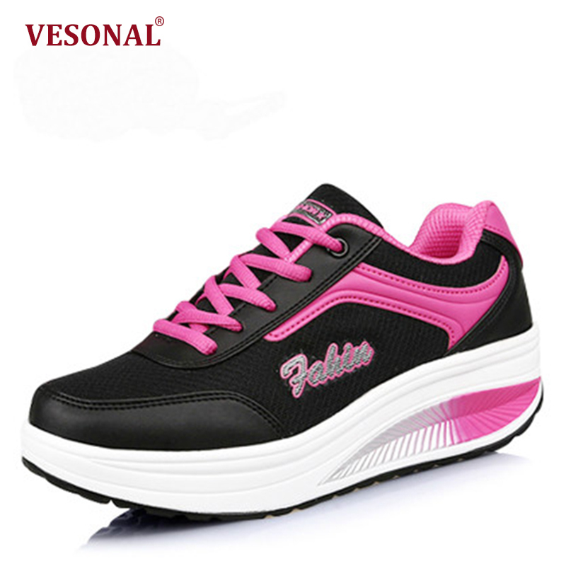 VESONAL 2018 Spring Autumn Breathable Mesh Flat Platform Women Shoes Sneakers Casual Ladies ...
