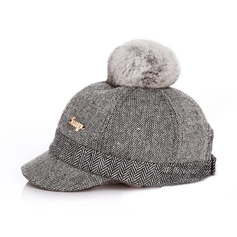 Kid's Fur-top Tweed Baseball Cap - Side View