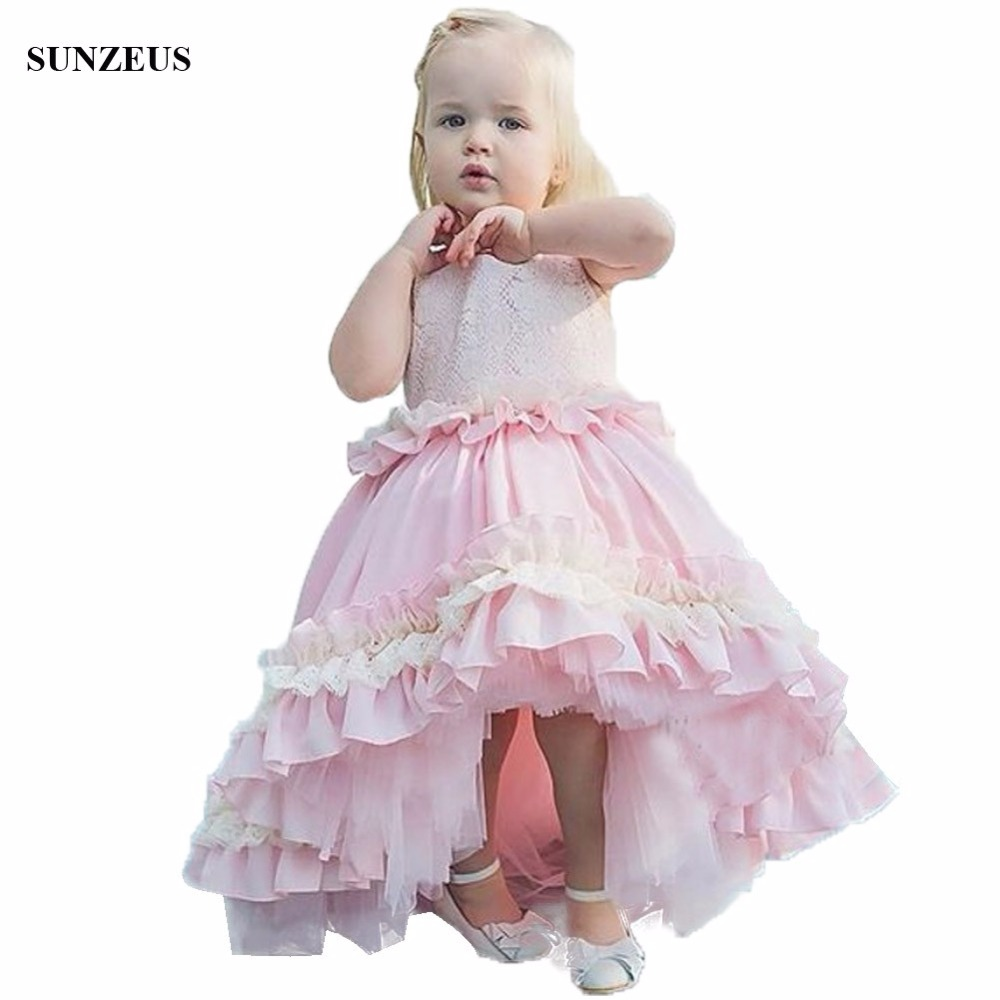 Ball Gown Pink Flower Girl Dress Short Front Long Back Wedding Party