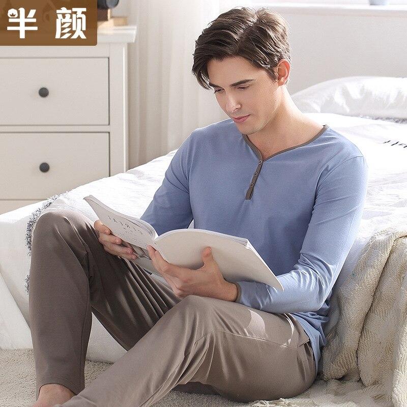 Men's Pajamas Spring Autumn Long Sleeve Sleepwear Cotton Solid Cardigan Pajamas Men Lounge Pajama Sets Size L To 3XL Sleepwear